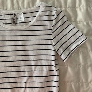 White with black striped tee